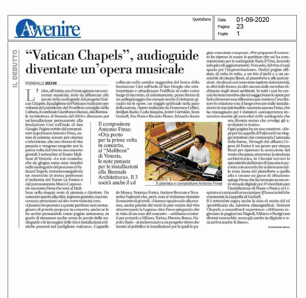 Avvenire press vatican chapels